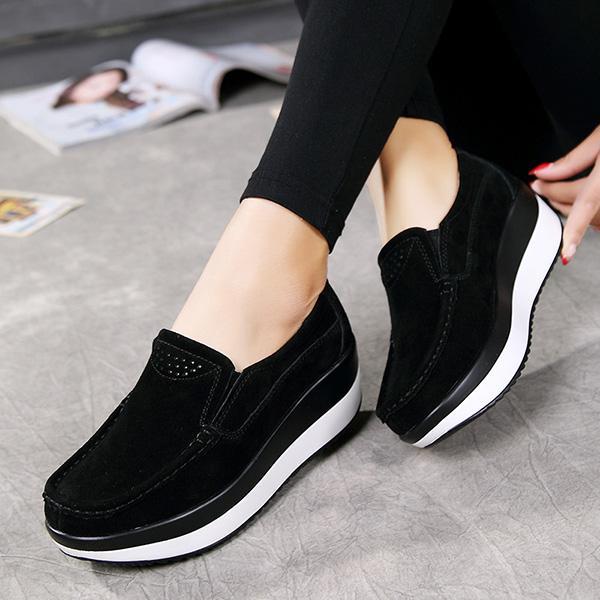 Women Genuine Leather Comfy Slip On Rocker Bottom Shoes - MagClos