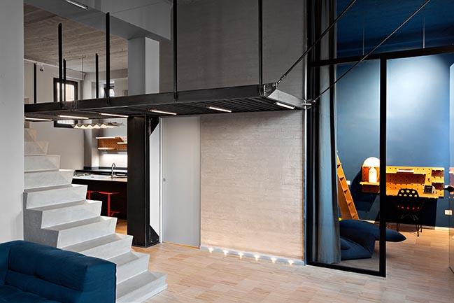 Blue and concrete apartment in Milan by DVDV Studio Architec
