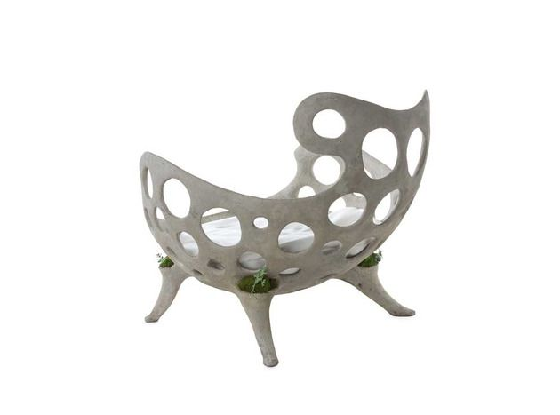 Concrete Furniture with Pockets for Living Plants by Opiary .