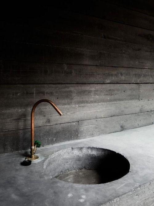 concrete sink and copper tap | Concrete bathroom, Copper taps .