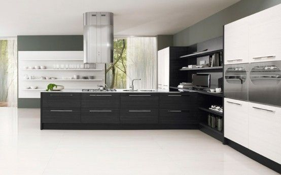 Black and White Kitchen Cabinets contrast design in 2020   Kitchen .