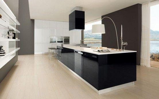 Glossy Black And White Kitchen - Diana By Futura Cucine   Modern .