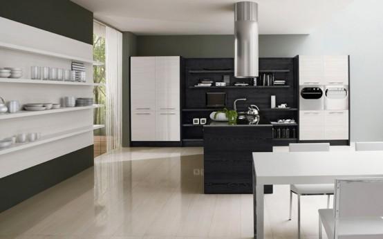 Contemporary Black And White Kitchen - Asia By Futura Cucine .