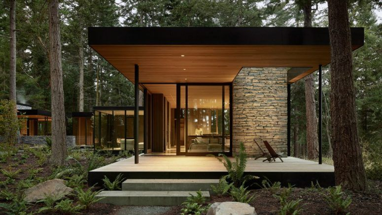 This stylish and contemporary dwelling consists of several volumes .