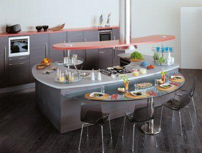 CONVIVIALITA' SULL'ISOLA   Kitchen island with stove, Curved .