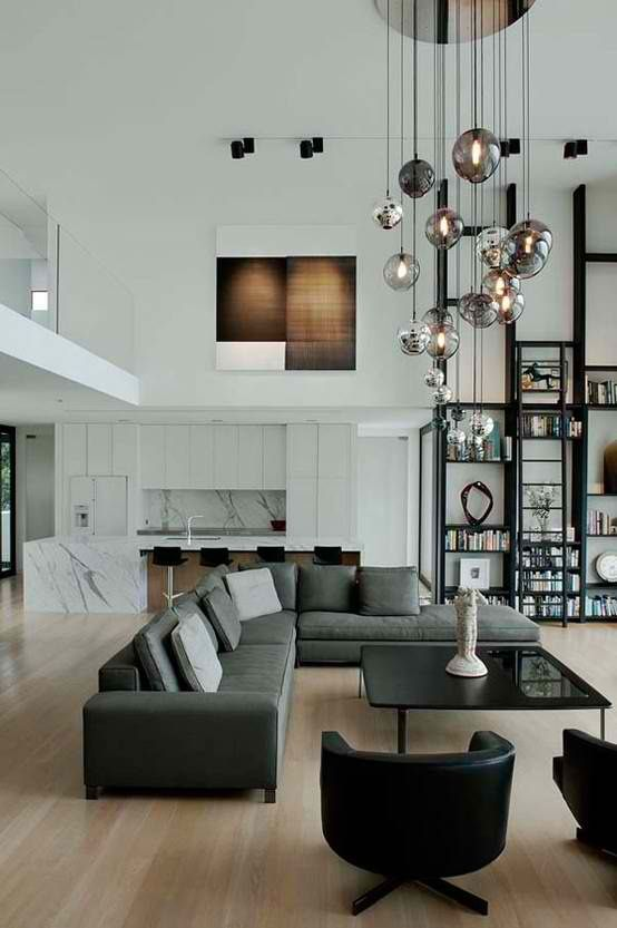 modern contemporary living room design with high ceiling by .