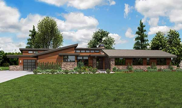 Plan 69510AM: Stunning Contemporary Ranch Home Plan | Ranch style .