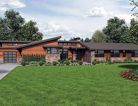 Plan W69510AM: Stunning Contemporary Ranch Home Plan | e .