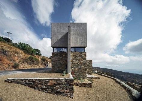 Contemporary Stone Residence in Triantaros Village, Greece .