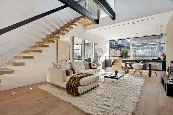 white living room | Staircase design, Interior architecture design .