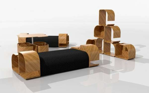 Curvaceous Wooden Couches | Modular furniture, Sofa design, Space .