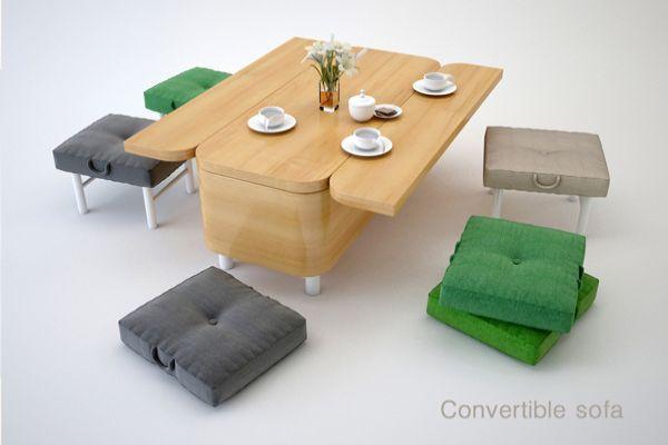 Convertible Sofa by Julia Kononenko converts into dining tab