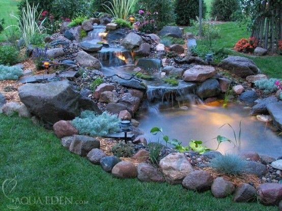 Cool Backyard Ponds - underwater lighting | Small backyard ponds .