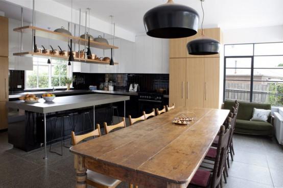 Cool Big Kitchen In Minimalist And Rustic Styles - DigsDi