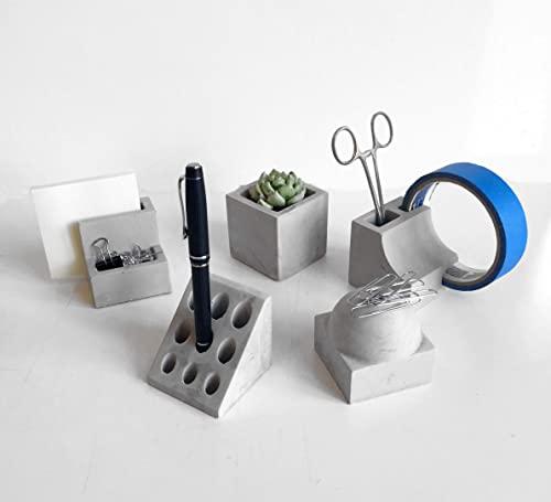 Amazon.com: Decorative Concrete Desk Accessories -Set of 5: Handma
