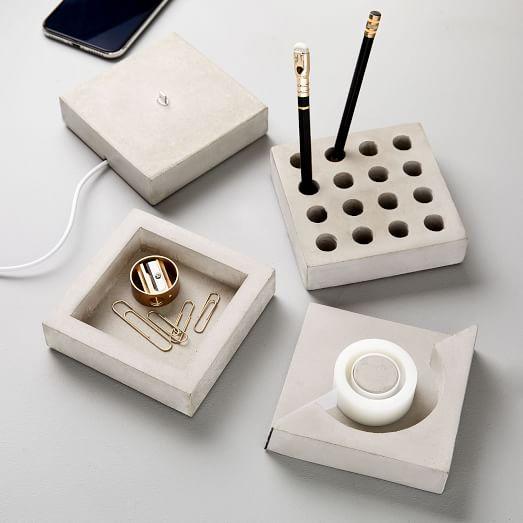 ILOVEHANDLES Concrete Slab Desk Accessories - Set of