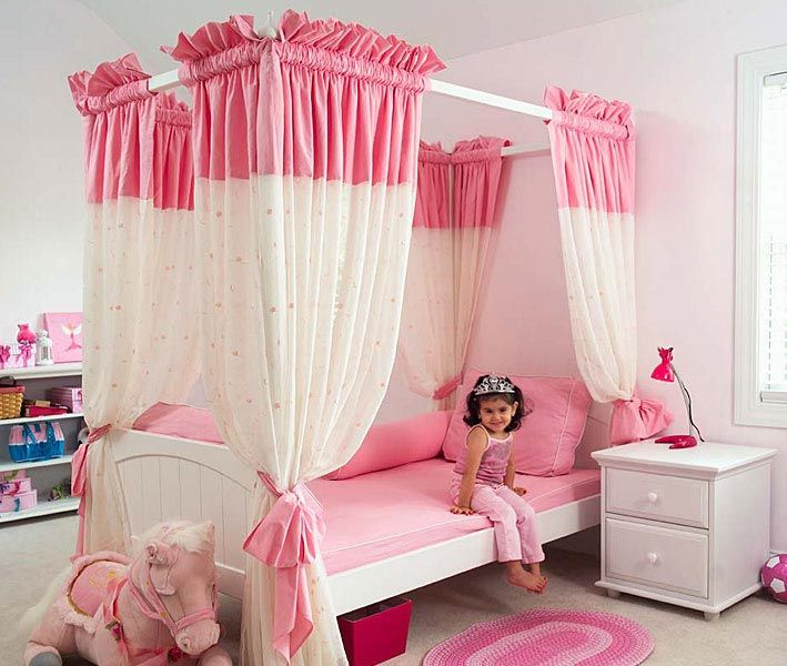 15-Cool-Ideas-for-pink-girls-bedrooms-1   Girls bed canopy, Pink .