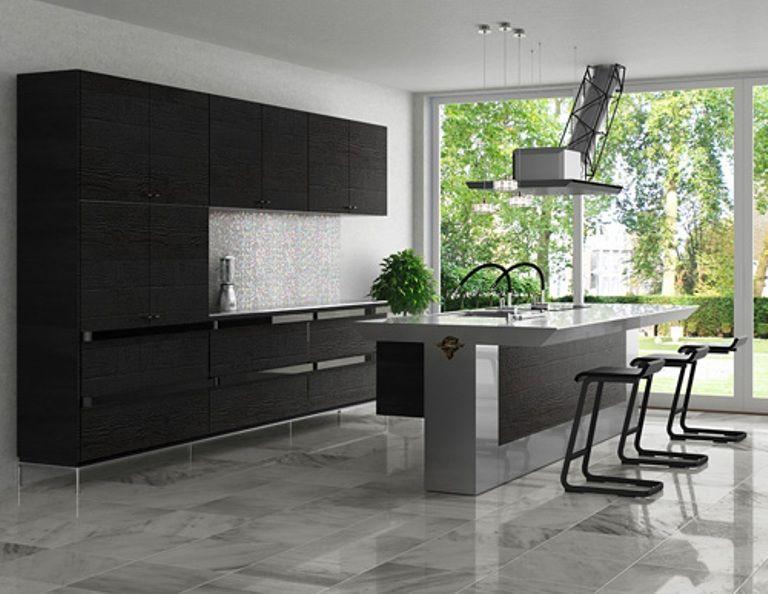 Black and Grey Minimalist Kitchen Design Ideas   Desain interior .