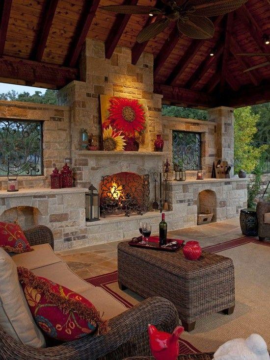 30 Impressive Patio Design Ideas   Outdoor fireplace designs .