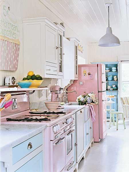 Hodgepodge House | Pink fridge, Shabby chic kitchen, Beach house .