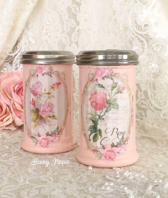 Shabby Pink Sugar Shaker Vintage style Kitchen Cinnamon | Etsy .