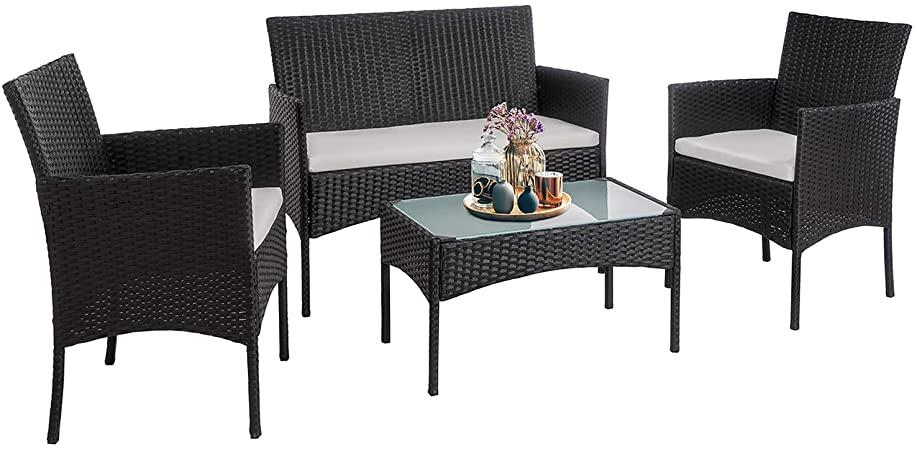 Amazon.com: Walsunny 4 Pieces Outdoor Patio Furniture Sets Rattan .