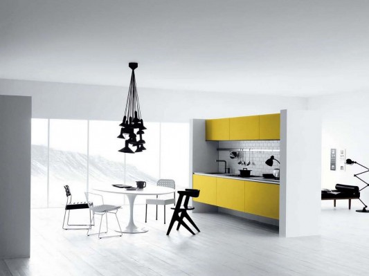 Contemporary White and Yellow Kitchen Design, Vetronica Character .