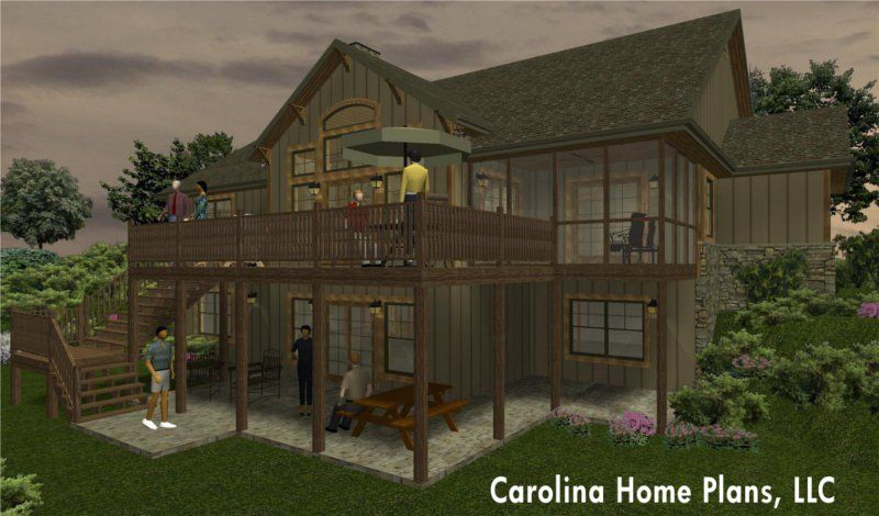 One story house plan for sloped lot with walk-out basement .