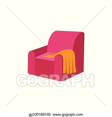 Vector Art - Vector flat armchair with woolen blanket or rug .