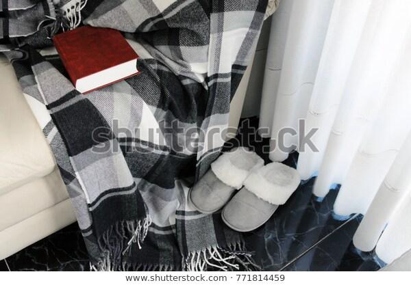 Woolen Warm Blanket Red Book On Stock Image   Download N