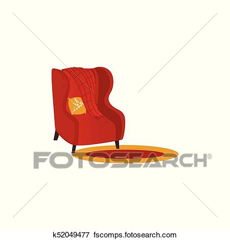 Vector armchair with woolen blanket or rug. Clip Art   k52049477 .