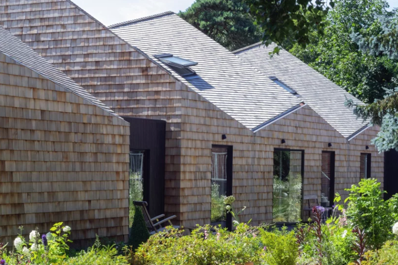 Cozy Brick Barn Home Clad With Shingles - DigsDi