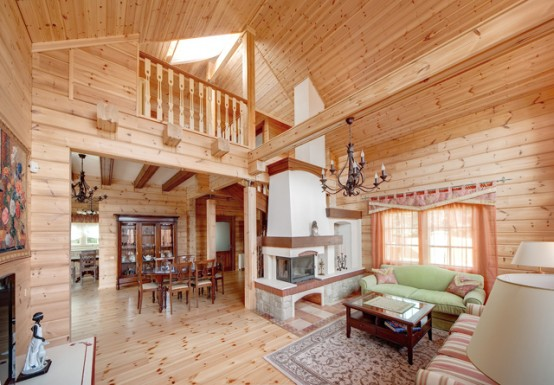 Cozy Wooden Country House Design With Interior in Colors of .