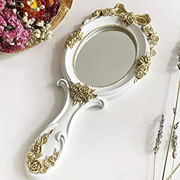 Amazon.com : 1Pcs Cute Creative Wooden Vintage Hand Mirrors Makeup .