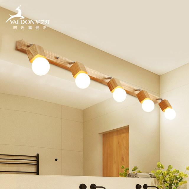 Nordic mirror cabinet lamp creative original wooden dressing room .