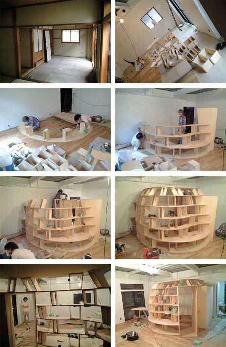 Creative Bookcase Bedroom in Japan   Interior design living room .