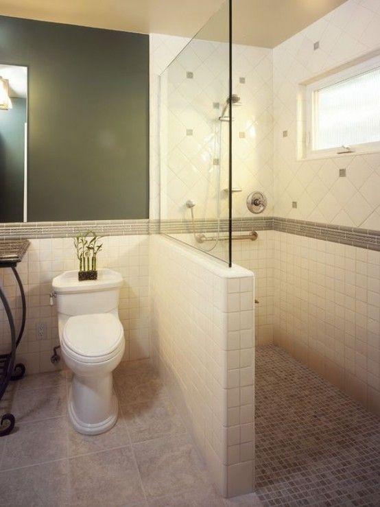Creative Décor: 39 Bathrooms With Half Walls | Bathroom shower .