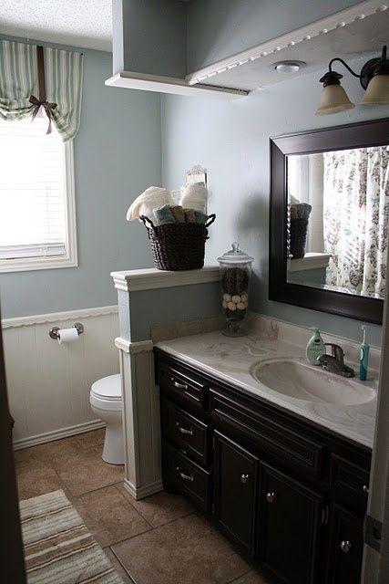 Creative Décor: 39 Bathrooms With Half Walls | Brown bathroom .