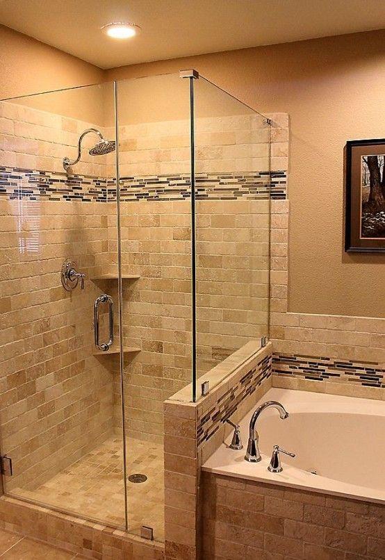 Creative Décor: 39 Bathrooms With Half Walls | Bathroom remodel .