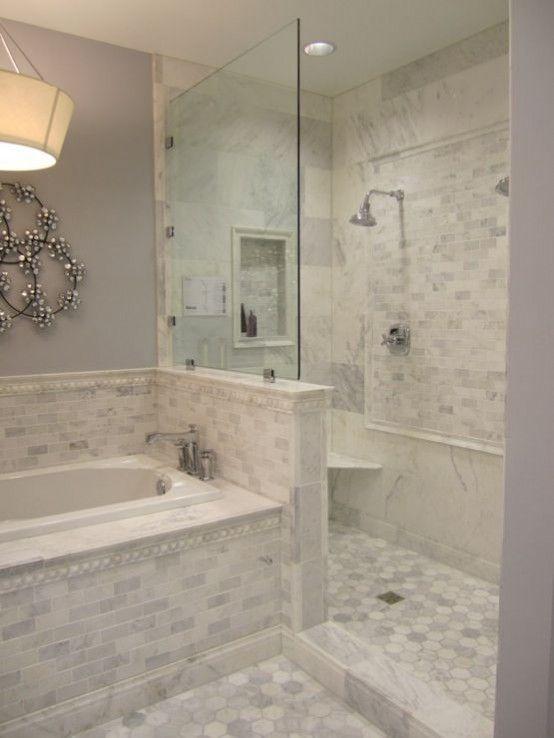 Creative Décor: 39 Bathrooms With Half Walls | Small bathroom .
