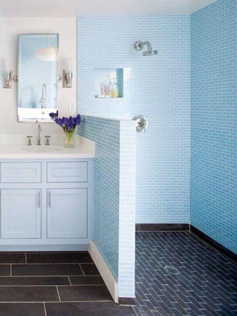 Bathrooms With Half Walls | Bathroom design small, Bathroom design .