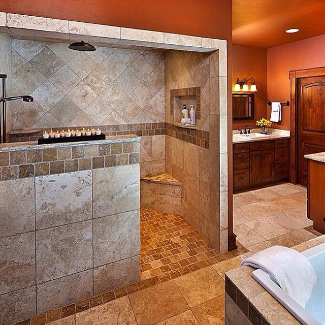 Creative Décor: 39 Bathrooms With Half Walls (With images) | Dream .