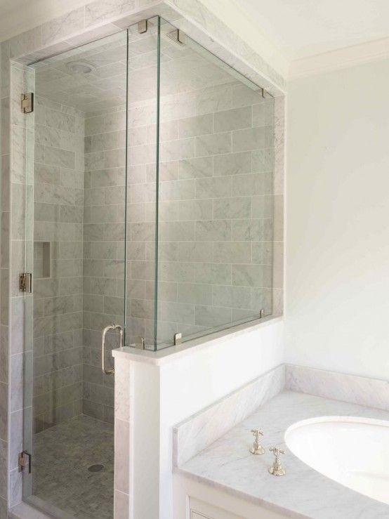 Creative Décor: 39 Bathrooms With Half Walls | Shower remodel .