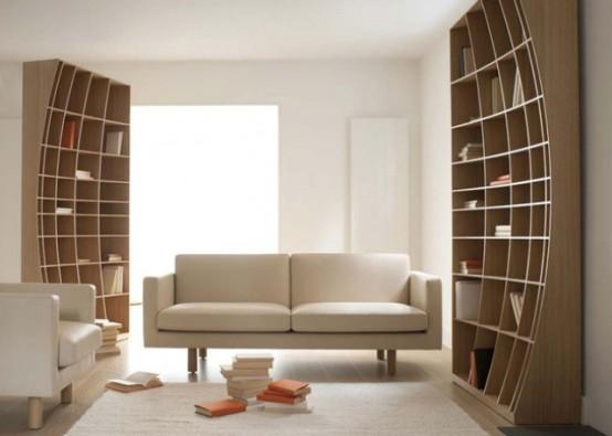 Creative Sculptural Bookcase In Two Halves - DigsDi