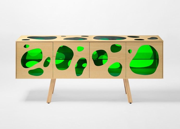 Cuboid Aquario Buffet With Colored Glass Inserts | Campana .