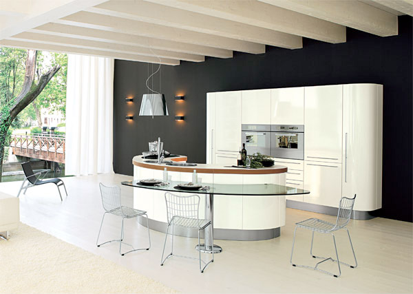 Curved KItchen Island from Record Cucine - DigsDi