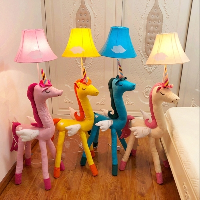 Bell Floor Lamp with Cute Unicorn Base Colorful Baby Kids Room .