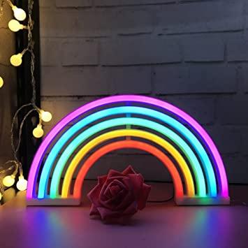 Cute Rainbow Neon Sign, LED Rainbow Light/Lamp for Dorm Decor .