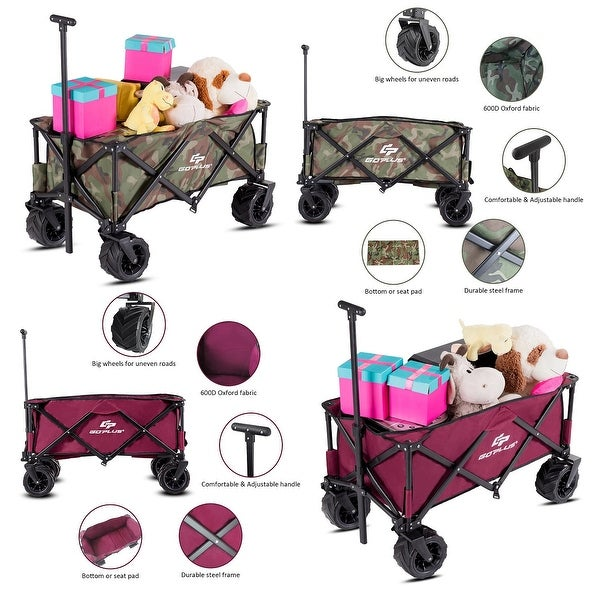 Shop Goplus Collapsible Folding Wagon Cart Outdoor Utility Garden .