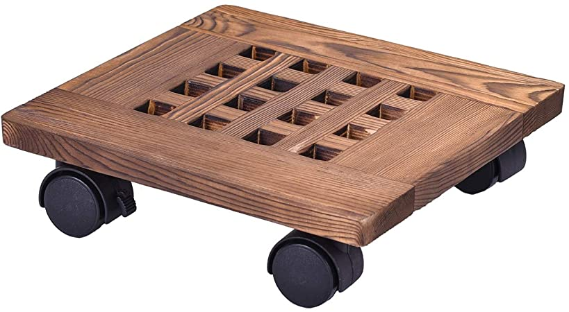 """GeBot 10"""" Inch Rolling Wooden Planter Caddy Potted Plant Stand ."""